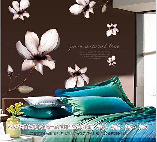 Wjwiang muursticker met bloemen, voor slaapkamer, tweepersoonsbed, woonkamer, tv, achtergrond, muurschildering
