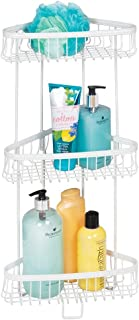 mDesign Metal 3-Tier Bathroom Corner Shower Shelf - Free Standing Vertical Unit Storage Shelves - for Organizing Soaps, Shampoos, Conditioner, Fash Face, Body Scrubs, Body Washes - 3 Baskets - White - coolthings.us