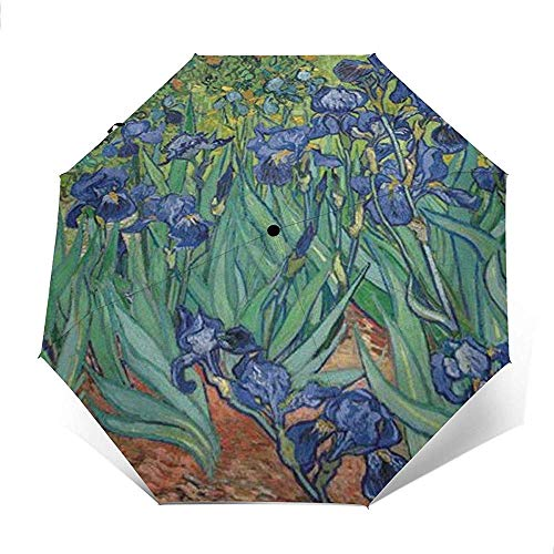 Iris 1889 Folding Compact Regenschirm wasserdicht-Sun Block-Auto Open&Close (schwarzer Kleber)