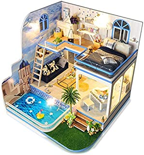 Spilay Dollhouse Miniature with Furniture,DIY Dollhouse Kit Mini Modern Duplex Home Model with Music Box ,1:24 Scale 3D Puzzle Creative Best Christmas Birthday Gift for Lovers and Children(Blue Mark)