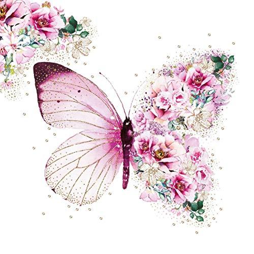 20 Servietten Märchenhafter Schmetterling als romantische Tischdeko 33x33cm