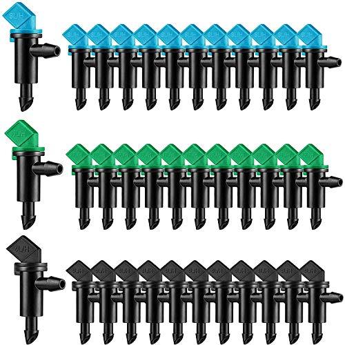 TOROKOM 点滴灌漑ノズル 3種サイズと3色の灌漑ドリッパー プラスチック製 芝生スプリンクラー ガーデンローンドリップ灌漑 1時間あたり1GPH、2 GPH、4GPHの散水(90個)