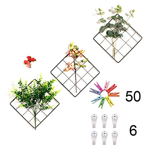 ZONYEO Small Size Multifunction Photo Display Metal Mesh Wire Grid Panel with 20 Clip for Collage Artworks, Pictures Hanging, Decor Frame – 3 Set