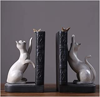 AWYDHC American Creative Bookends Resin Playful Cat Bookends Decorative Bookshelves Bookends Home Desktop Decor for Office Library Home (Set of 2 Pieces)