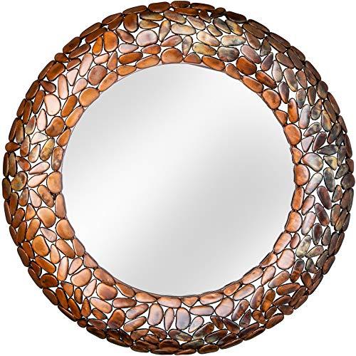 Riess Ambiente Glänzender Spiegel Stone Mosaic 82cm Kupfer Handarbeit Mosaik Optik Wandspiegel