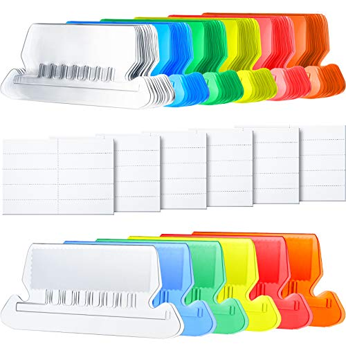 Hanging Folder Tabs and Inserts for Organize and Distinguish Hanging Files, 2 Inch, Clear to Read (60 Sets, Flat Design Multicolor A)