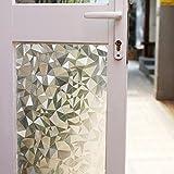 fancy-fix 3D001-90-200 Window Film Non-Adhesive Cut Glass Decorative Static Anti-UV Window Clings, 35.4' W x 78.7' L