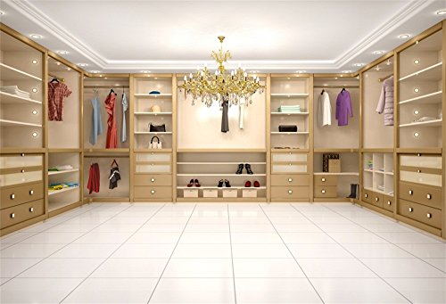 LFEEY 7x5ft Modern Luxury Wardrobe Photo Backdrop 3D Dressing Room Closet Clothes Rack Crystal Chandelier Cabinet Background for Photography Portriat Events Party Photo Studio Props