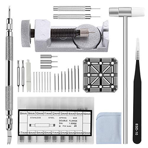 Watch Strap Link Removal Repair Tool,Watch Band Bracelet Pin Remover Adjustment Kit,Spring Bar Tool with Extra pins