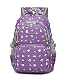 Fanci Lovely Dog Paw Prints Elementary Middle School Backpack Bookbag for Teen Girls