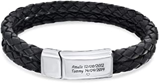leather id bracelets engraved