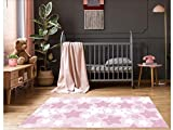 Alfombra Infantil Estrellas Rosas PVC | 95 cm x 133 cm | Moqueta PVC | Suelo vinilico | Decoración del Hogar | Diseño Moderno, Original, Creativos