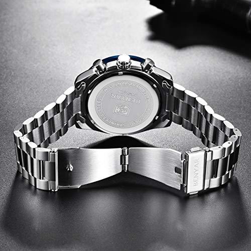 BENYAR Montre analogique à Quartz pour Homme avec Bracelet en Caoutchouc et Bracelet en Acier...