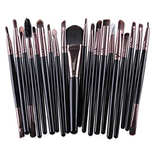 Kinshops 20pcs pinceaux de Maquillage gradué Couleur Diamant poignée Fondation Pinceau Poudre , Noir et café