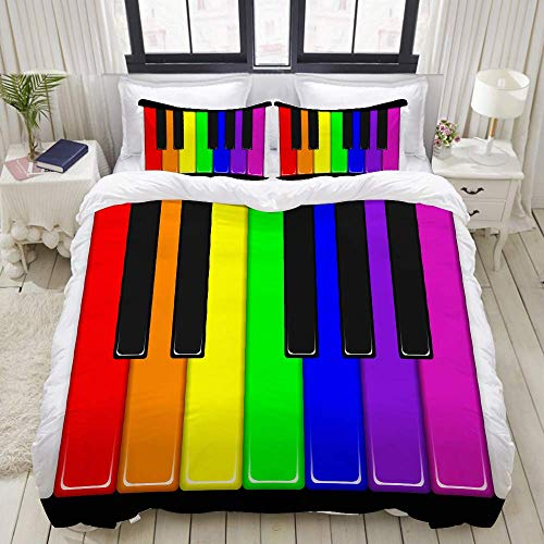 Funda nórdica, Teclas de Piano arcoíris, Juegos de Cama Decorativos de 3 Piezas con 1 Funda de edredón y 2 Fundas de Almohada para Adolescentes y Adultos