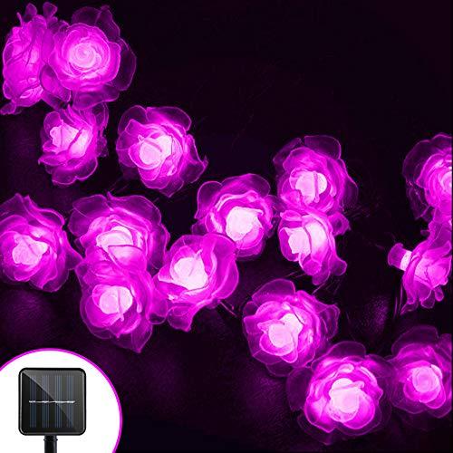 Berocia Wetterfeste LED Lichterkette Solar Außen mit batterie 6.5 Meter 30 LED 8 Modi Weihnachtsbeleuchtung für Haus Garten Rasen Weihnachten Urlaub Dekoration (Rosa)