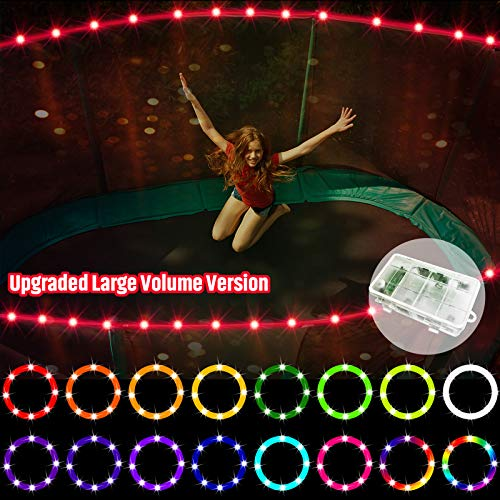 【Upgraded Large Volume Version】 LED Trampoline Lights,Remote Control Trampoline Rim LED Light for 12Ft Trampoline, C Battery Box, 16 Color Change, Waterproof, Bright to Play at Night Outdoors