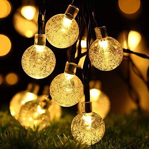 Luces De Cadena Solares, Luces De Bola De Burbujas Led, Luces Decorativas Impermeables Para Exteriores, Luces De Jardín, Luces De Burbujas Blanco cálido 12 metros 100 cabeza solar