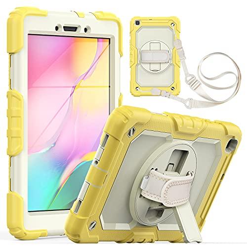 Tablet PC Bag Custodia per tablet per Samsung Galaxy Tab A 8.0  T290 2019 a tre strati antiurto a disposizione antiurto, con cavalletti rotanti, tracolla PC + copertura protettiva multifunzione in sil