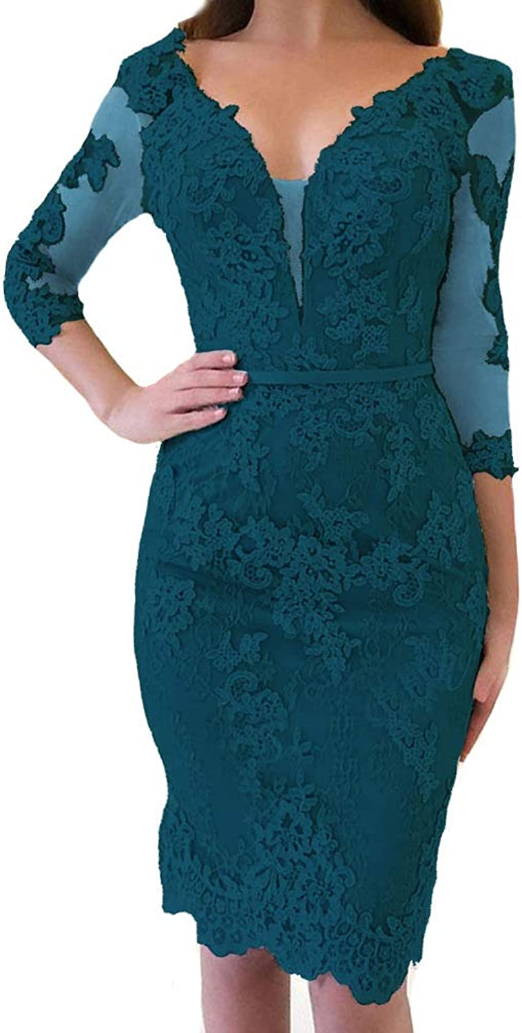 Chadox Sheer Lace Applique Cocktail Dress Half Sleeves Short Formal Party Gown