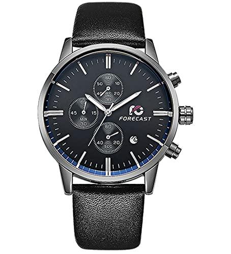CHXISHOP Reloj cronógrafo multifunción de seis manos para hombre, calendario multifunción, reloj de cuarzo, reloj de correa para parejas, impermeable, casual, Negro 1