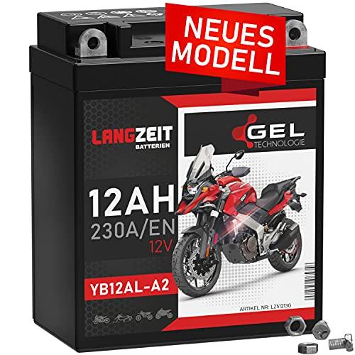 LANGZEIT YB12AL-A2 GEL Motorradbatterie 12V 12Ah 230A/EN 51213 GEL12-12AL-A YB12AL-A Gel Batterie 12V doppelte Lebensdauer vorgeladen auslaufsicher wartungsfrei ersetzt 10Ah