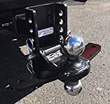 Shocker XR Combo Ball Mount with Sway Control Tabs - 12,000 lbs +4' of Rise to -4' of Drop, Fits 2' Hitch