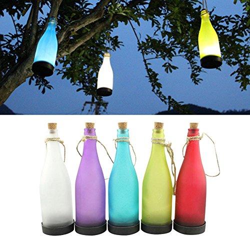 5er-Set LED Solar Powered Flasche Licht zum Aufhängen Terrasse Lampe Flamme Effekt Garten Yard Hängelampe