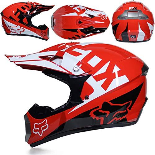 SISI Casco Motocross, Casco Moto Todoterreno para Niños, Aprobado por Dot Casco Rally para Hombres Mujeres con Gafas Máscara Guantes, Casco Protección Junior con Diseño Fox, Rojo,L