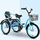 Children's Tricycle Pedal 16 Inches / 18 Inches, 2-12 Years Old Double Inflatable