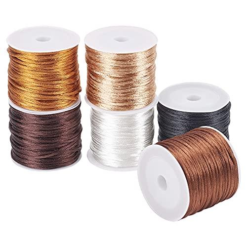 PandaHall Cordón de seda de nailon de 6 colores, 1,5 mm de satén, cuerda de cuerda para nudos chinos, macramé, abalorios, pulsera de la amistad