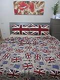 Pago Poco 'Einzelbett Position Flagge des Vereinigten Königreichs Puro Baumwolle Natur 100prozent.Made in Italy.