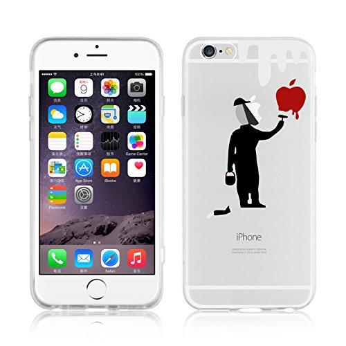 iPhone 6 Plus Hülle, JAMMYLIZARD Transparentes Sketch Back Cover aus Silikon mit Muster für iPhone 6 Plus / 6s Plus 5.5