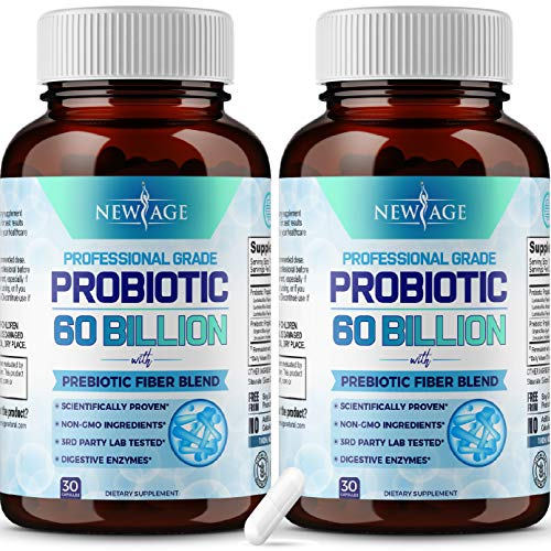 Probiotics 60 Billion CFU with Prebiotic Formula- 2 Pack - Probiotics for Women and Men and Adults, 100% Natural Digestive Enzymes, Shelf Stable Probiotic Supplement with Organic Prebiotic