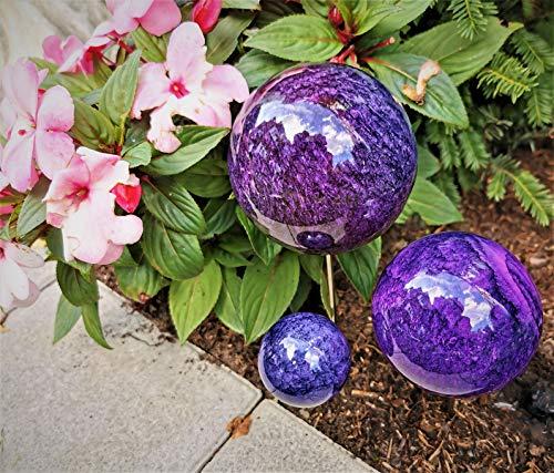 Pflanzstecker 3er Set aus Edelstahl mit Kugeln in blau-lila Beetstecker Gartenstecker