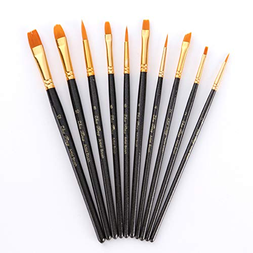 Softmusic 10Pcs Watercolor Oil Acrylic Painting Wooden Paint Brush Drawing Tool Set Black