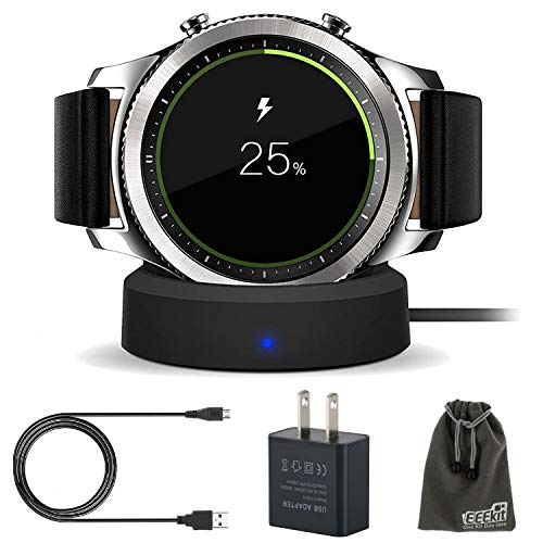 EEEKit Galaxy Gear S3 Charger, Qi Wireless Replacement Charging Dock Cradle Stand Charger + AC Wall Charger Adapter for Samsung Gear S3 Classic/Frontier Smart Watch  B01NBN7AAJ