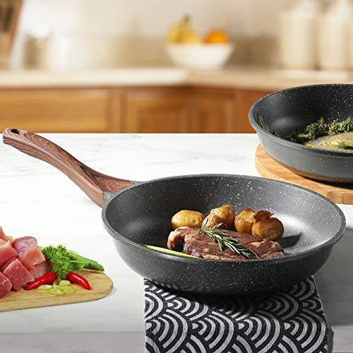 Sensarte Nonstick Frying Pan Skillet, Swiss Granite Coating Omelette Pan, Healthy Stone Cookware Chef's Pan, PFOA Free (9.5 Inch )