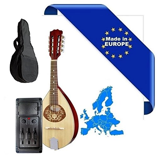 MANDOLINO PORTOGHESE 2-PA MADE IN EUROPE IN MASSELLO EQ ARTEC TOP ABETE E ACERO FONDO FASCE MANICO SCALA 332mm + BORSA