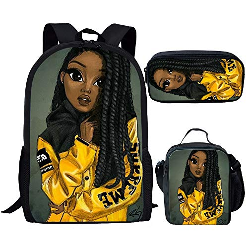 Smileygil Preppy Style Childrens Backpacks Black African Girls School Bag and Luch Bag Afro Lady Travel Backbag with Pen Bags