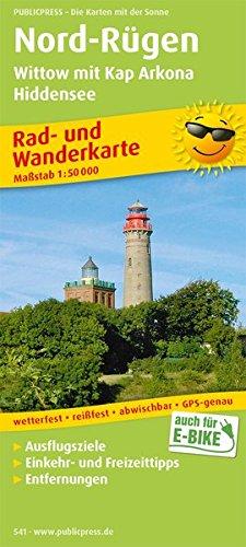 Rad- und Wanderkarte Nord-Rügen, Wittow mit Kap Arkona, Hiddensee: mit Ausflugszielen, Einkehr- & Freizeittipps, wetterfest, reißfest, abwischbar, GPS-genau. 1:50000