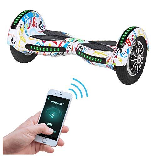 Robway W3 Hoverboard - Das Original - Samsung Marken Akku - Self Balance - 22 Farben - Bluetooth - 2 x 400 Watt Motor - 10 Zoll Luftreifen (Weiß Bunt)