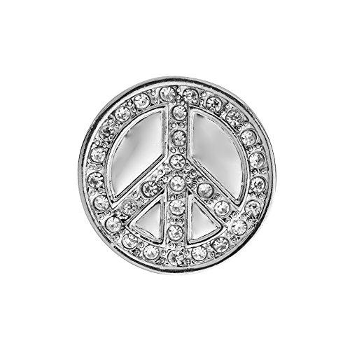 Quiges Damen Mini Click Button 12mm Kristalll Zirkonia Peace Zeichen