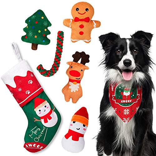 AWOOF Dog Christmas Toys, Christmas Stocking Dog Toy Gift Set 7Pcs Plush Chew Squeaky Dog Toys Dog Rope Toys with Christmas Bandana