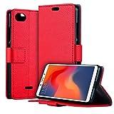 HDRUN Xiaomi Redmi 6A Leder Hülle - Premium PU Leder Flip Tasche Hülle mit Kartensteckplätzen & Ständerfunktion Schutzhülle Handyhüllen für Xiaomi Redmi 6A, Rot