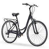 sixthreezero Body Ease Women's 7-Speed Comfort Road Bicycle, Matte Black 26' Wheels/ 17' Frame, One Size