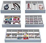Magic Stackable Jewelry Trays Closet Dresser Drawer Organizer for Accessories, Gadgets & Cosmetics, Storage Display Showcase Holder Box, Set of 5