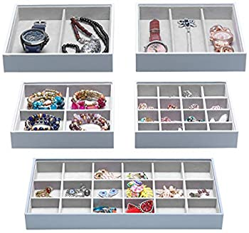 Magic Stackable Jewelry Trays Closet Dresser Drawer Organizer for Accessories Gadgets & Cosmetics Storage Display Showcase Holder Box Set of 5