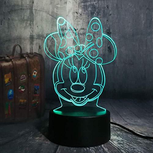 Nouveau Dessin Animé Belle Belles Filles Mignon Minnie Mouse Tête 7 Changement de Couleur Night Light Enfant Dormir Lampe De Bureau D'anniversaire De Noël Cadeau