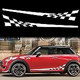 TOMALL 1 par de 196cm para coche universal de carreras con bandera a cuadros rayas laterales calcomanías de vinilo impermeables para puertas laterales celosía decoraciones para coche (blanco)